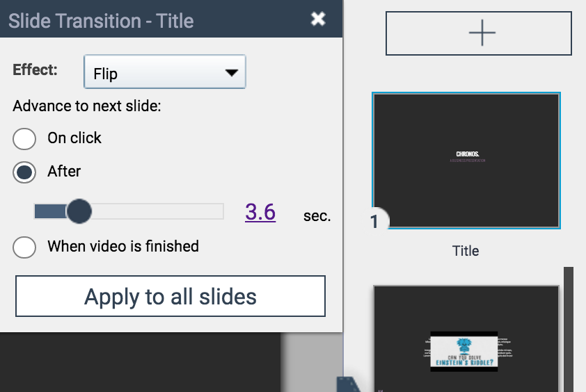 adding transitions to slides in visme
