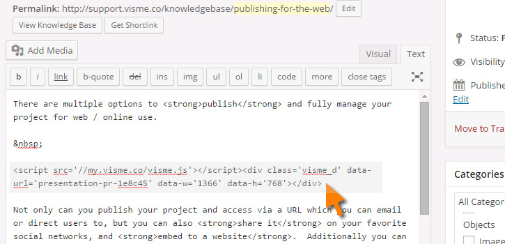 Paste Visme Embed code to website