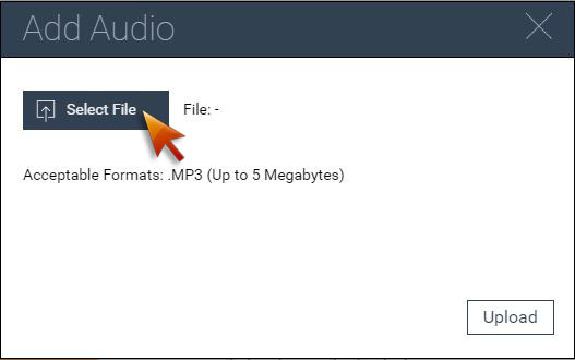Select audio file from local to upload to visme