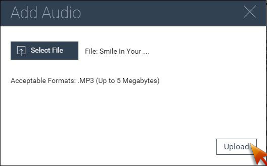 Upload your audio mp3 file.
