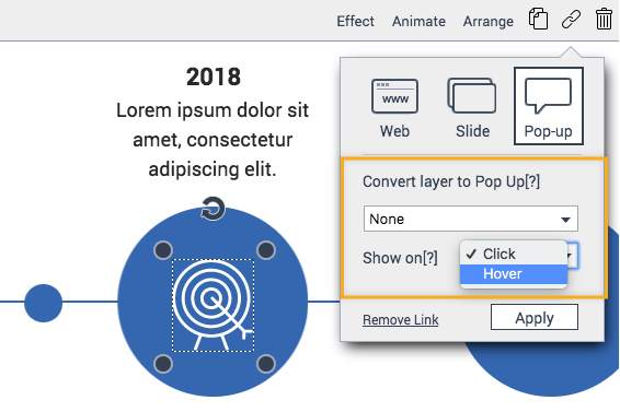 Convert the layer to pop-up