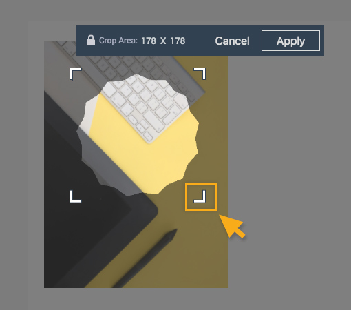 Adjust size of the cropping tool