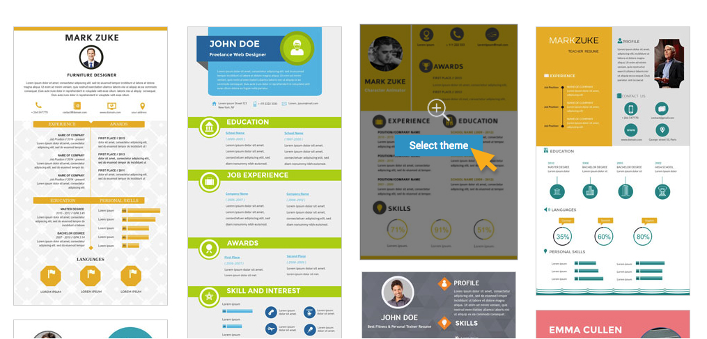 Select theme for your resume