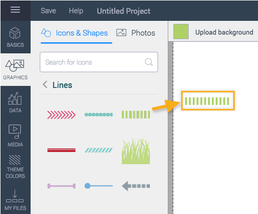 Drag or click lines over to project