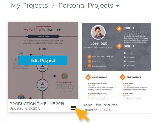 Share project menu
