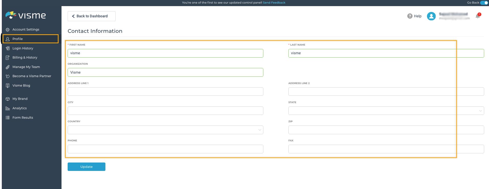 manage profile details