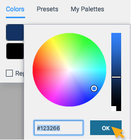 Select form color wheel or enter hex code