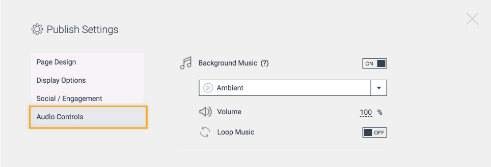 Publish Settings Audio Controls