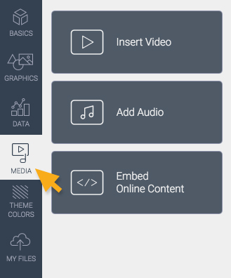 Media for insert video, add audio, embed online content