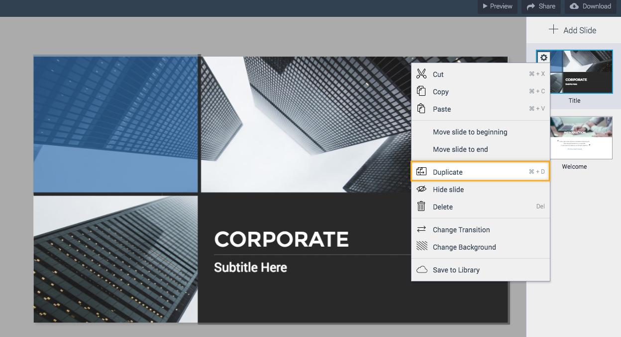 Duplicate presentation slides