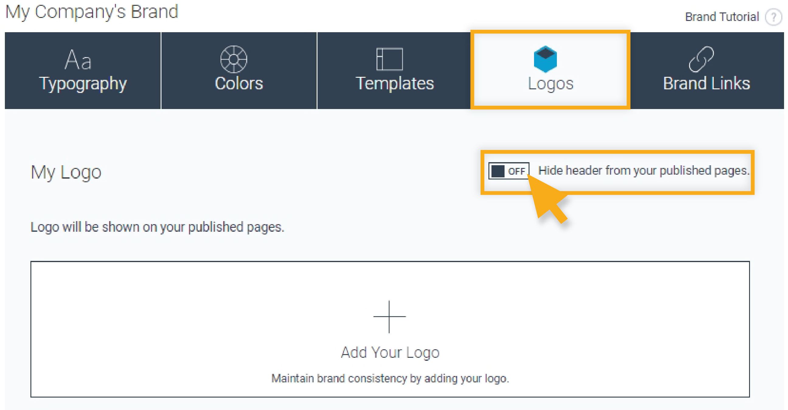 hide header from your published pages