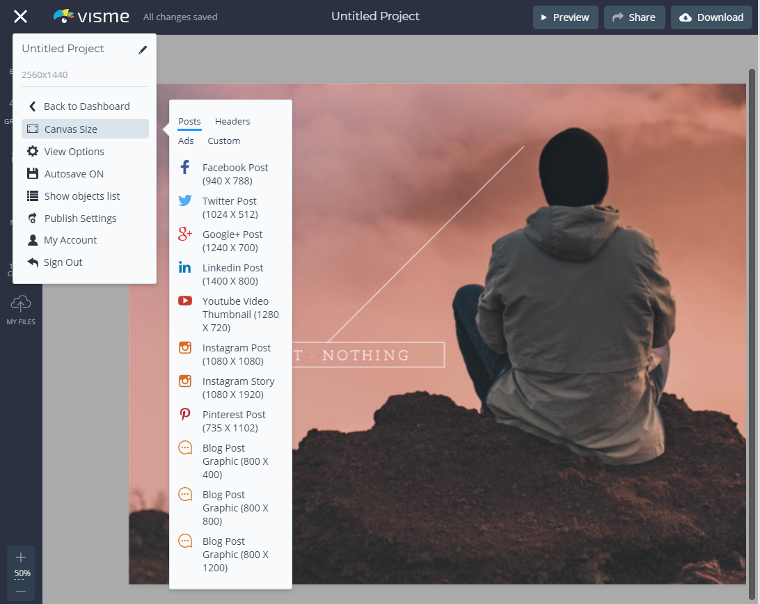Resizing Your Projects Visme
